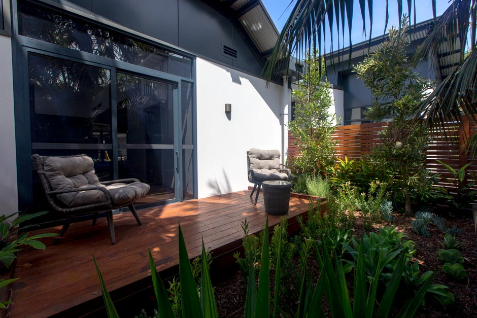 Private accessible terrace from one of the guest rooms at Sargood on Collaroy