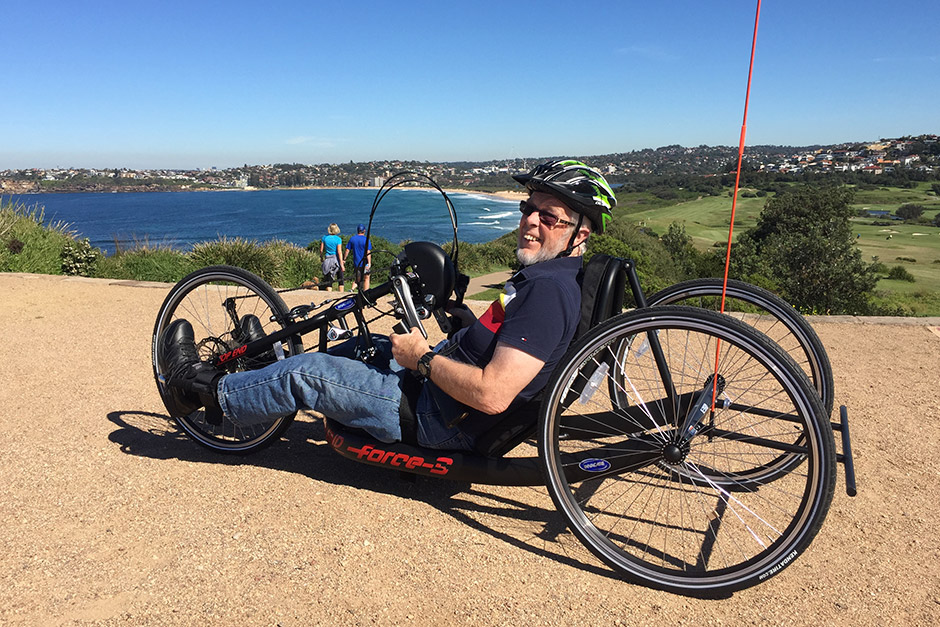 Sargood on Collaroy guest cycling along Long Reef Headland Walk
