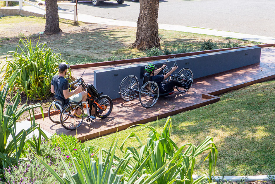 Sargood on Collaroy Adaptive Sport and Recreation Specialist with guest cycling