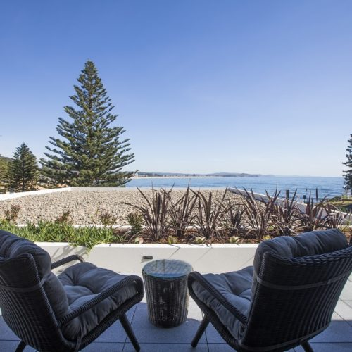 View from the Ocean View Room, one of the guest rooms at Sargood on Collaroy